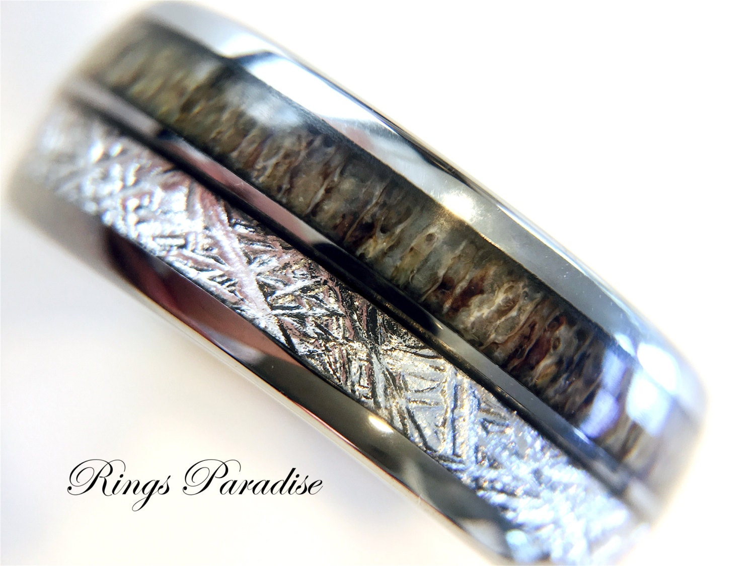 Antler Ring Tungsten Wedding Bands Anniversary Ring