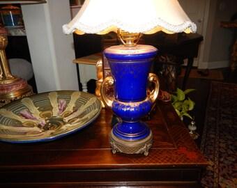 COBALT BLUE FLEUR de Lis Lamp with Shade