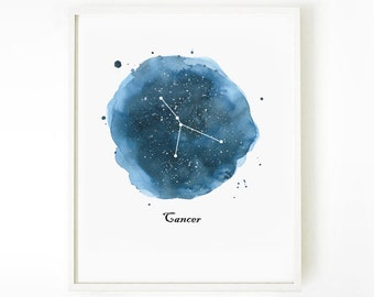 Cancer Constellation Print, Watercolor Zodiac Painting Print, Astronomy Art, Watercolor Print