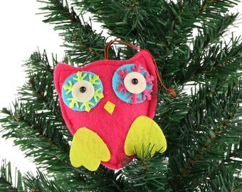 8cm Psychadelic Fabric Owl, Christmas Xmas Tree Decorations, Ornament Figurine