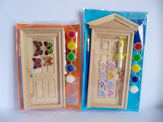 Decorate your own fairy door children 39 s art and craft kit for Wooden fairy doors to decorate