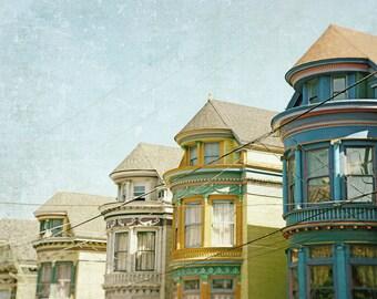 San Francisco Print, Victorian Houses, California Photography, Architecture, Fine Art Print, Home Decor, yellow, blue, green, Wall Art