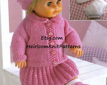 DK Knitting Pattern for Dolls Cardigan, Skirt, Beret, Shoes &more 12-22'', Vintage DK/ 8ply Pattern, Doll Clothes, Instant download PDF - 45