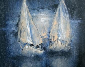 Moon night, moon, sea, fog, silence, painting, art, drawing, original painting