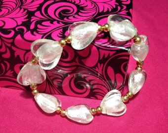 Gold and white heart bracelet - 7 inches