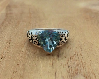 Blue Topaz Silver Ring // 925 Sterling Silver // Oxidized Swirl Setting