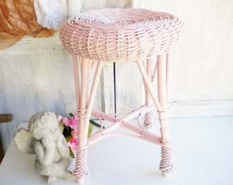 Shabby Chic Vintage Stool Side Table /Wicker Stool Repurposed In Shabby Pink/Home Decor/Garden Room/Shabby Beach Decor