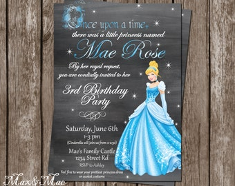 Cinderella Birthday Invitation, Princess Party, Once Upon A Time Theme, Cinderella Invite, Digital, Printable
