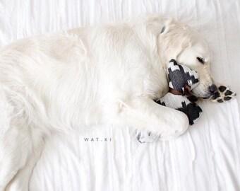 Dog toy, dog shaped plush toy, dog squeaker toy, medium dog toy, houndstooth dog toys