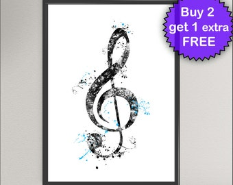 TREBLE CLEF Sign Nº1 Watercolor Art Print - Music Treble Clef G-Clef Ink Painting Music illustrations Art Print Wall Poster Wall Decor Home