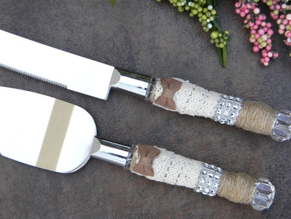 wedding cake knives and servers rustic wedding cake servers and knives burlap and lace 8685