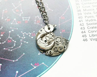 Clockwork Moon Necklace // Steampunk Jewellery // Steampunk Necklace // Watch Part Jewelry // Moon Necklace // Silver Jewelry
