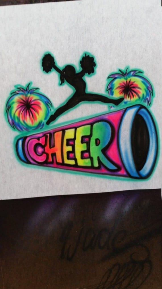 Custom airbrush shirt cheer shirt cheerleader cheer for Custom made airbrushed shirts