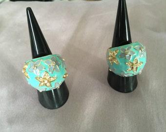 Rings enamel flowers