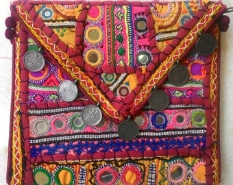 CLEARANCE SALE!! USD 15 off! Vintage banjara clutch from India, boho/hippie/ chic/embroidery/ tribal/ purse/pouch/mobile purse/Ready to ship