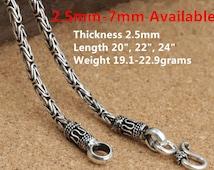 Sterling Silver Byzantine Chain, Sterling Byzantine Chain, 925 Silver Byzantine Chain Necklace 2.5mm 3mm 5mm 6mm 7mm - E409