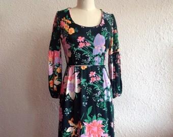 1960s Black floral maxi dress