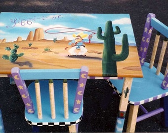 Cowboy table and chair set, hand painted table set, children's furniture
