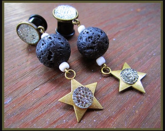 """Astral Nights, Galactic Days stretched dangle lava rock EAR PLUGS earrings pick the gauge size 2g, 0g, 00g, 7/16"""", 1/2"""" aka 6, 8, 10, 12mm"""