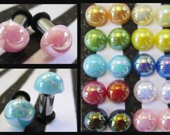 Glossy Half Pearls EAR TUNNEL PLUG Earrings you pick gauge size and color - 8g, 6g, 4g, 2g aka 2mm, 3mm, 4mm, 6mm