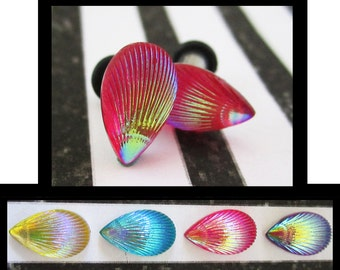 Charged Seashells Nautical EAR TUNNEL PLUG Earrings you pick gauge size and color -  8g, 6g, 4g, 2g aka 2mm, 3mm, 4mm, 6mm