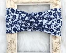 Very Pretty Navy Blue Floral Turban Headband. Baby Turban headband, Kids Turbans, Head Wraps