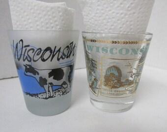 Vintage Set of 2 Wisconsin Shot Glasses