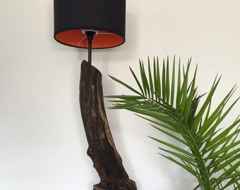 Floor lamp made of driftwood