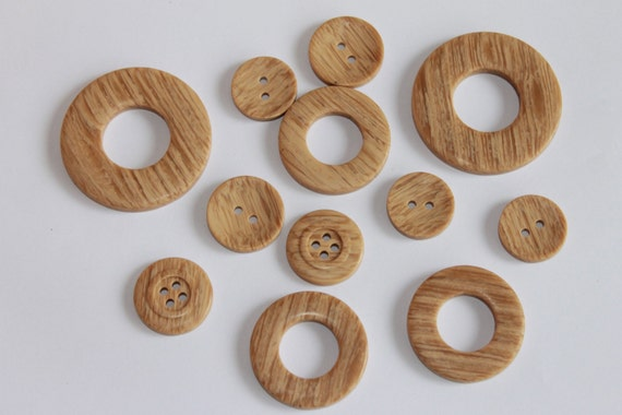Items similar to selection of 12 plastic wood imitation for Large plastic rings for crafts