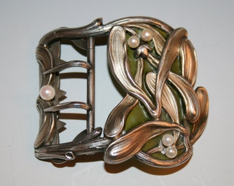 Sterling Silver Art Nouveau Mistletoe belt buckle