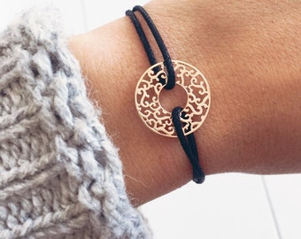 Bracelet cord round, circle - Arabesque - plated gold 750/000 - gold plated - gift idea
