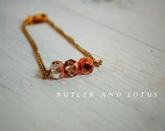 Rose Gold Glass Beaded Bracelet - Minimalist -Dainty Jewellery
