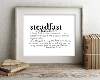 Crowns & Clay STEADFAST Defined Series Printable Art, Lamentations 3:22-23, Definition Print, Affordable Home Decor, Scripture, Typography