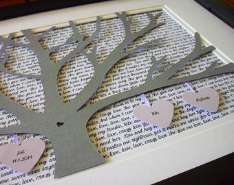 First Anniversary Gift For Couple, Wedding Lyrics Picture, 11X14 Unframed 3D Paper Tree Gift, First Anniversary Gift, Wedding Song Lyrics