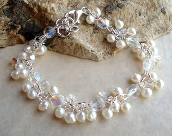 White Pearls Cluster Bracelet.Crystals.Wedding.Beadwork.Bridal.Delicate.Statement.Mother's.Birthday.Formal.Gift.Prom.Small.Dainty. Handmade.