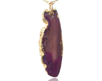 Gold Plated Purple Geode Agate Slice Pendant Necklace