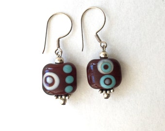"Sterling silver, artisan-made, chunky aqua blue, cream, brown lampwork bead ""Dots"" dangle earrings"