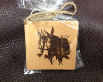 Laser Engraved Mule Team Leather Coaster Set