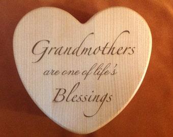 "Laser Engraved ""Grandmothers"" Maple Heart-shaped Keepsake Box"