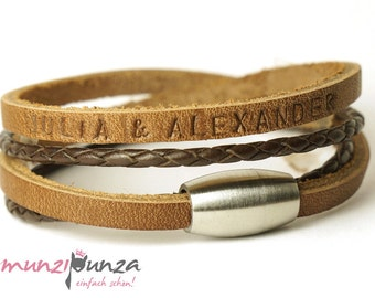 Name bracelet leather magnetic closure article 177 b