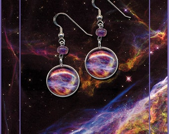Veil Nebula Earrings presented on a quality greetings card with information