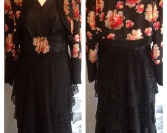 Genuine vintage 1930s dress and jacket