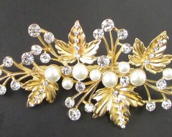 Gold Silver White Pearl Leaf Hair Clip Bridal Headpiece Vine Diamante Vtg 400