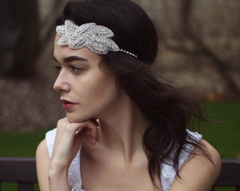 Vintage 1920s Silver Diamante Headpiece Great Gatsby Flapper Bridal Headband L80