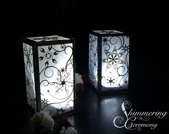 Snowflake winter wedding centerpiece large lantern luminary snow falling christmas party