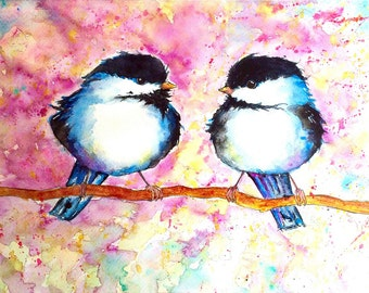 Print of chickadee 'two friends' watercolour painting perfect for kidsroom spring bird lovers nursery by artist Nancy Antoni