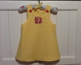 Custom Girl's Lined Jumper With Monogram Solid or Print Fabric Sizes 1-8