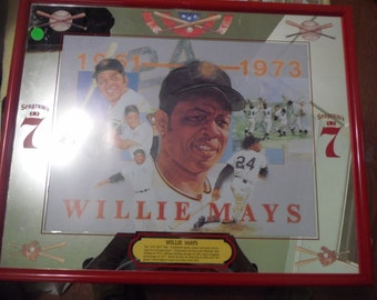 Willie Mays Seagrams 7 Wall Portrait 16x24