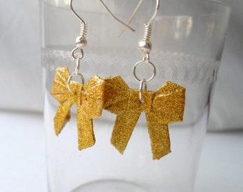 Origami Bow Earrings- Golden Sparkles