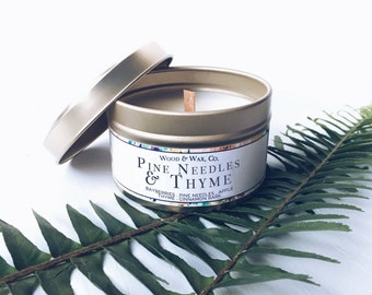 PINE NEEDLES & THYME Soy Candle | Candle Tin | Travel Candle
